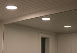 Marys Peak bathroom with beadboard ceiling and LED lights