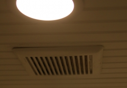 Bathroom ceiling with exhaust fan and LED lights