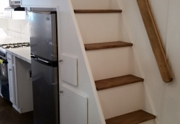 Custom storage stairs in the Lassen Peak