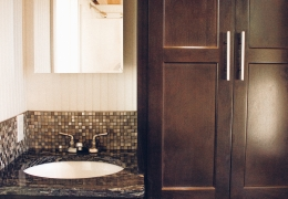 Castle Peak bathroom with dark alder cabinets